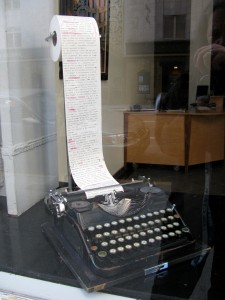 Cyrillic typewriter in art gallery window