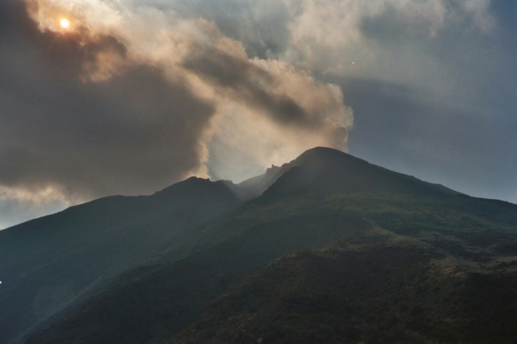 View of the Stromboli volcano, Sicily.