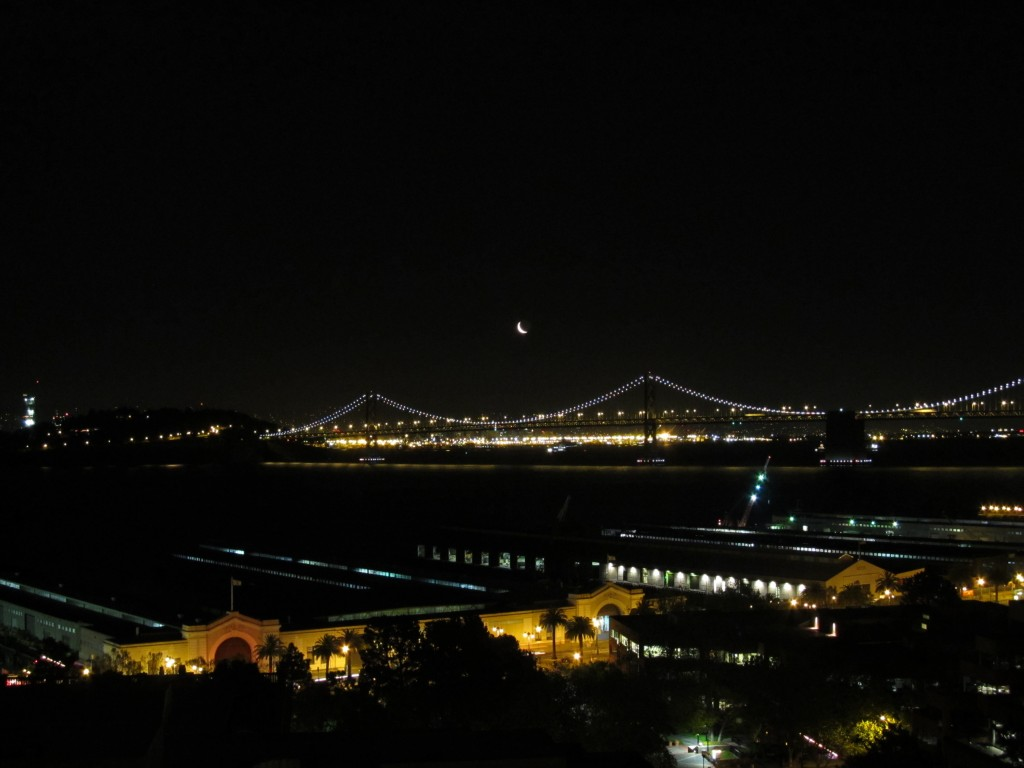 crescent moon over the SFO Bridge