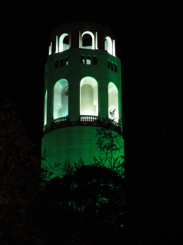 Coit Tower bathed in green for St Patrick's Day